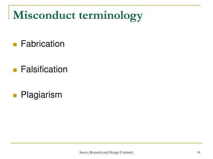 Misconduct terminology