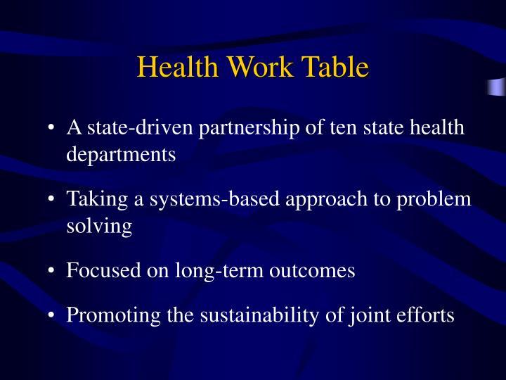Health Work Table