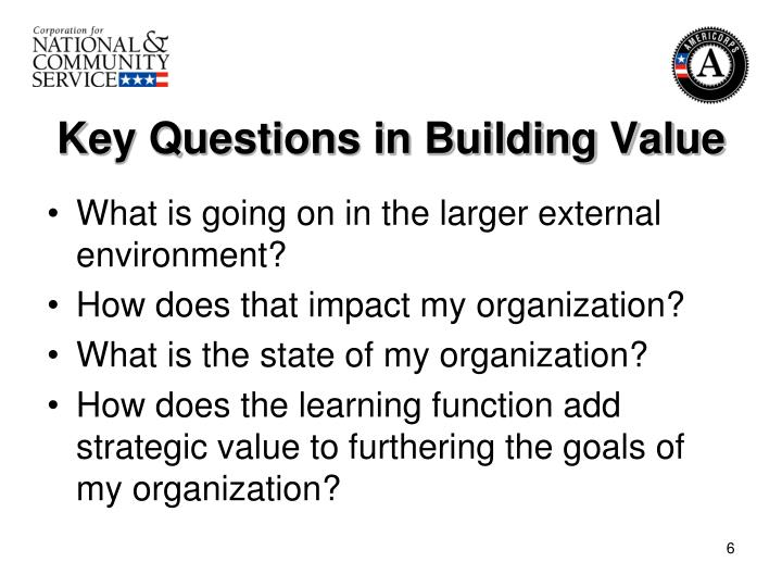 Key Questions in Building Value