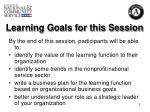 learning goals for this session