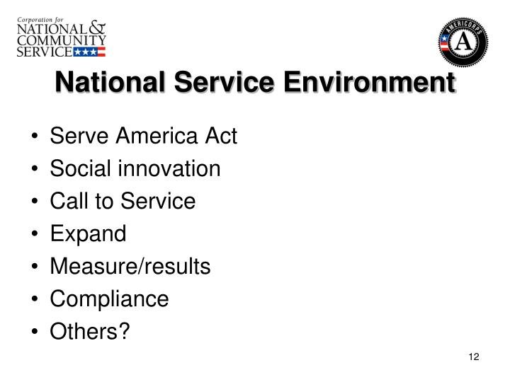 National Service Environment