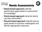 needs assessments