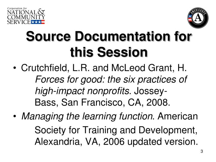 Source documentation for this session