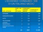 l eccesso consumo die di un italiano medio