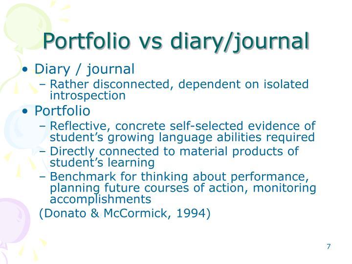 Portfolio vs diary/journal
