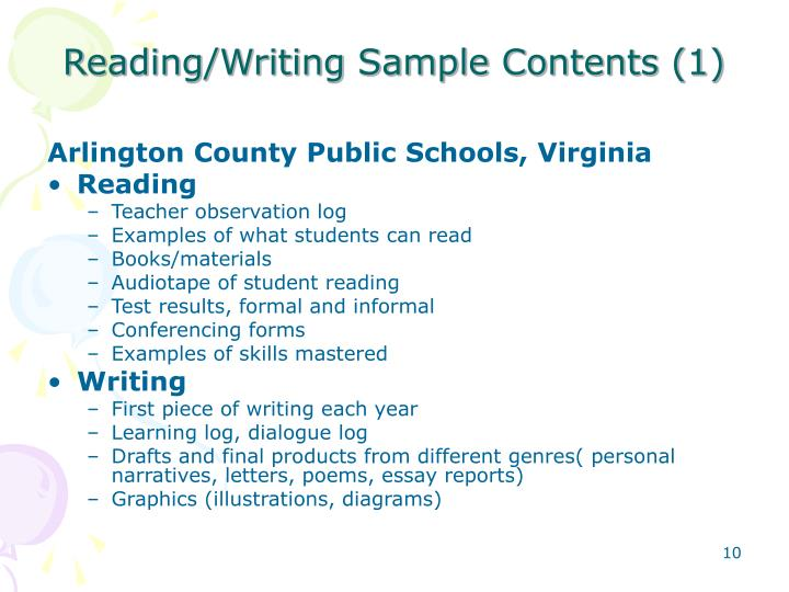 Reading/Writing Sample Contents (1)