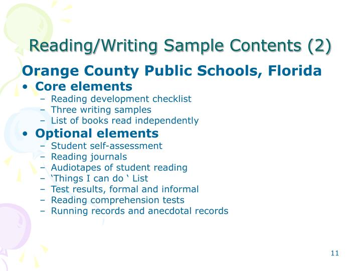Reading/Writing Sample Contents (2)