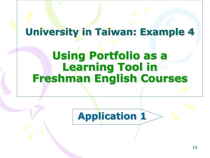 University in Taiwan: Example 4