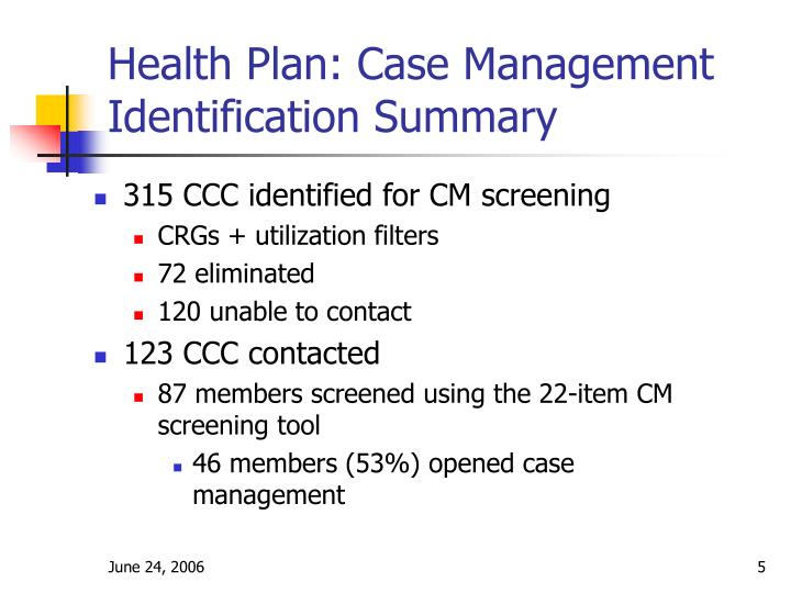 Health Plan: Case Management Identification Summary