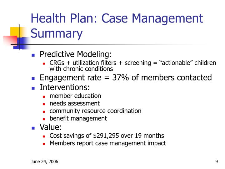 Health Plan: Case Management Summary