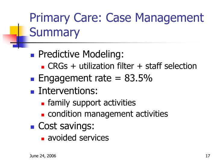 Primary Care: Case Management Summary