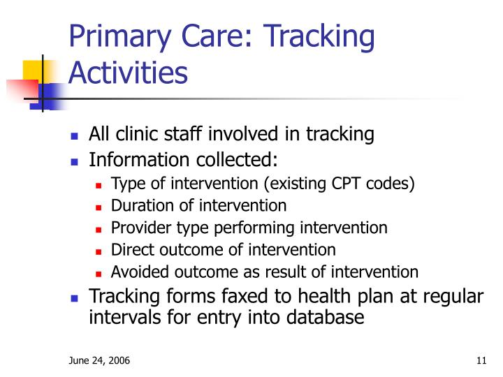 Primary Care: Tracking Activities