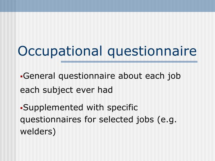 Occupational questionnaire