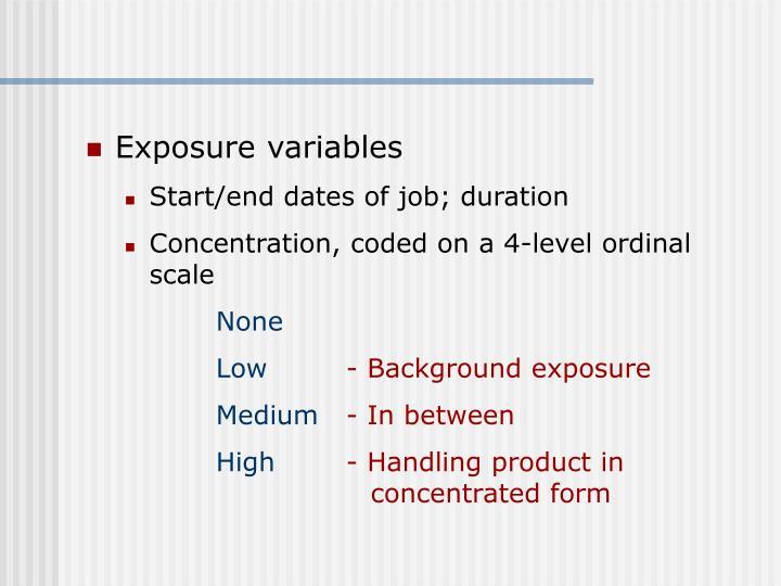 Exposure variables
