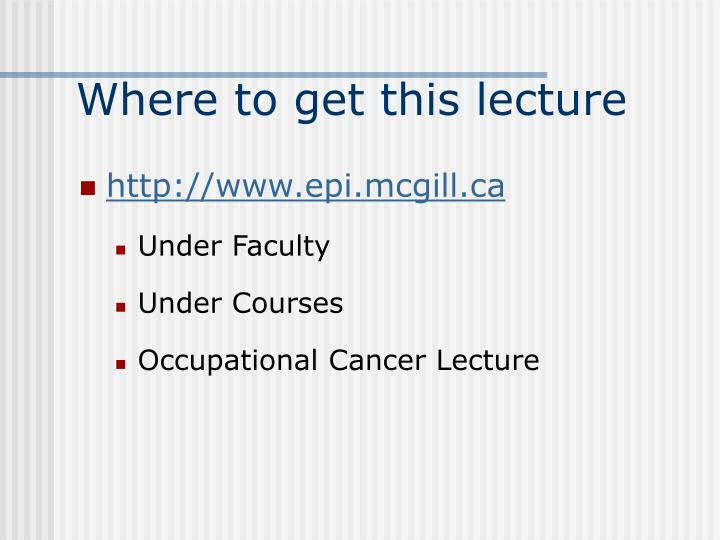 Where to get this lecture