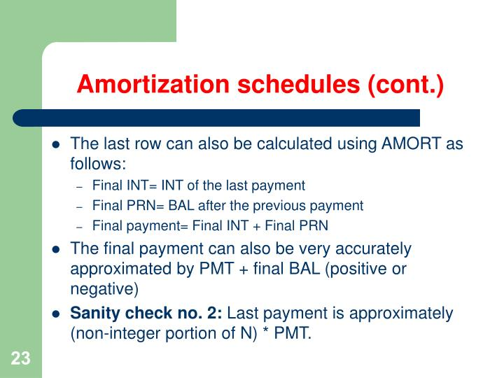 Amortization schedules (cont.)