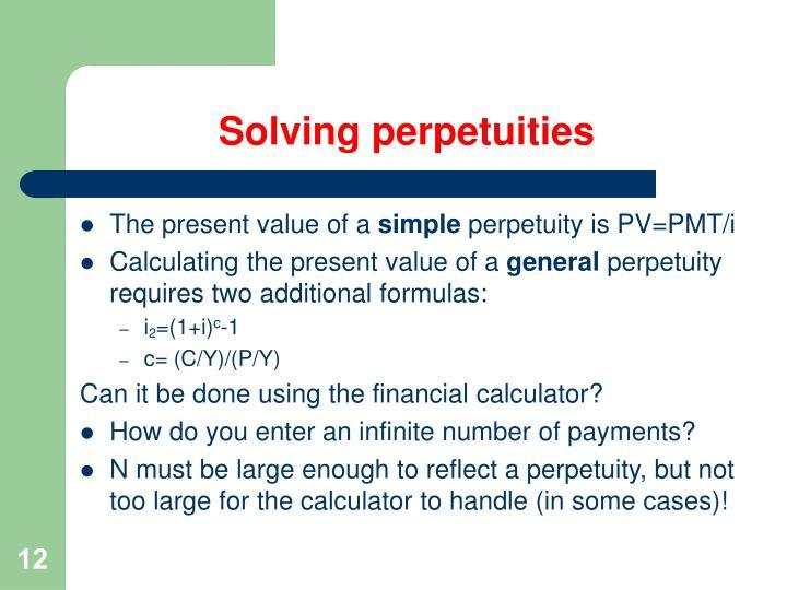 Solving perpetuities