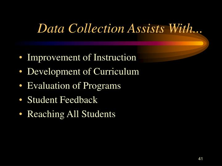 Data Collection Assists With...
