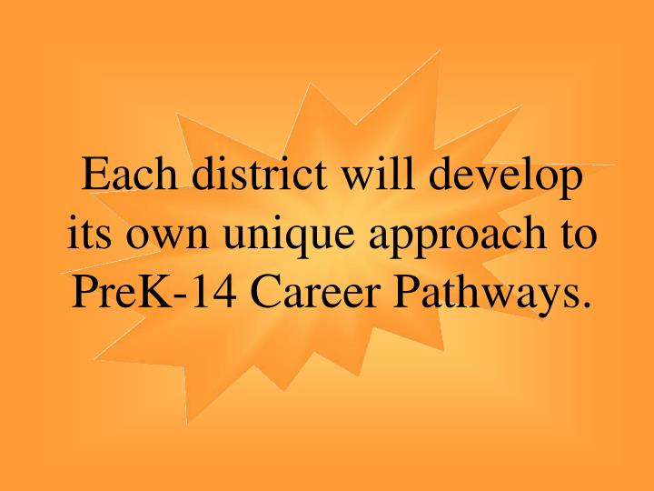 Each district will develop its own unique approach to PreK-14 Career Pathways.