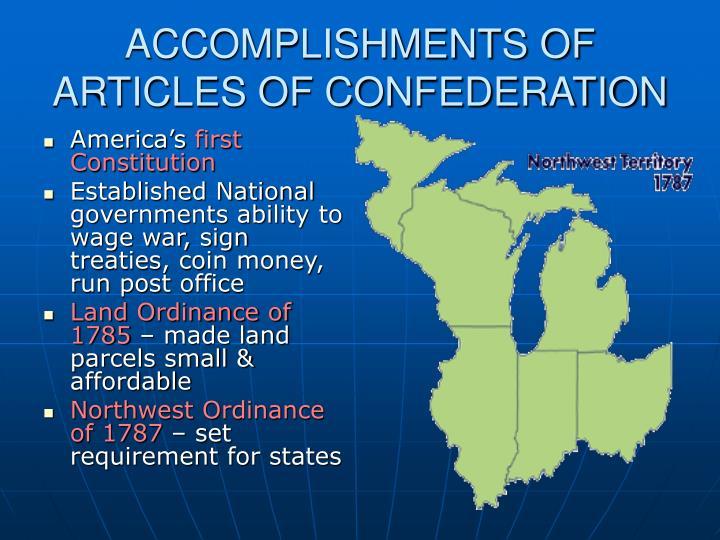 ACCOMPLISHMENTS OF ARTICLES OF CONFEDERATION
