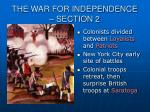the war for independence section 2