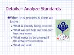 details analyze standards2