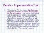 details implementation tool1