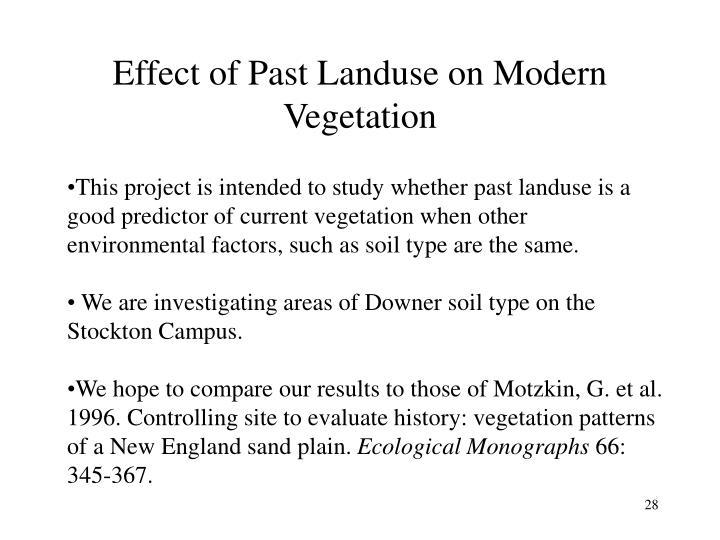 Effect of Past Landuse on Modern Vegetation