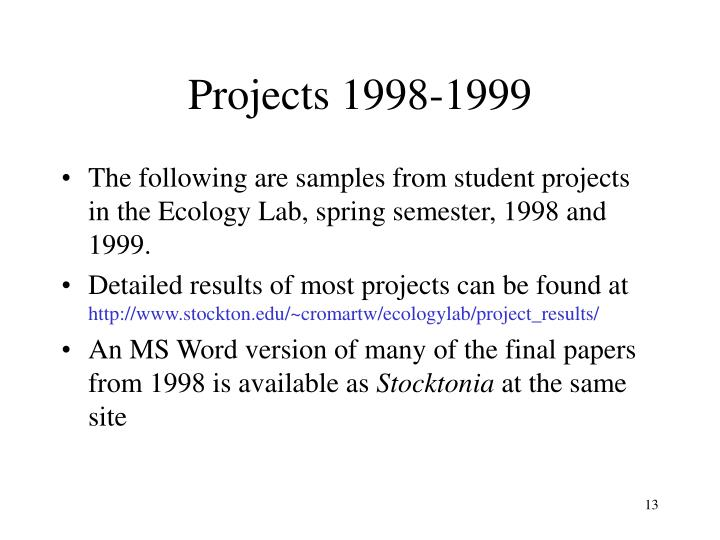 Projects 1998-1999