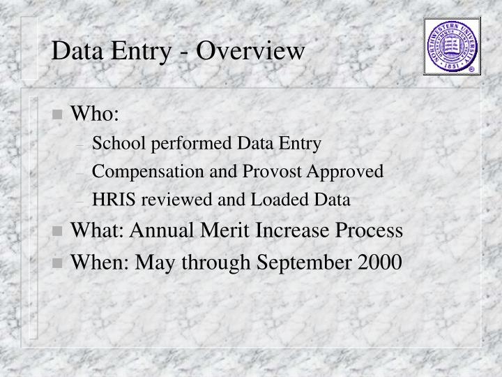Data Entry - Overview