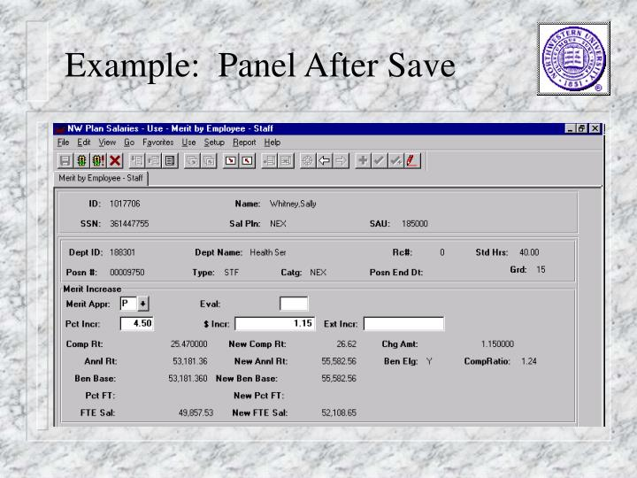 Example:  Panel After Save