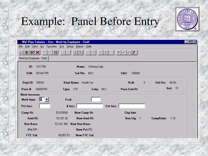 Example:  Panel Before Entry