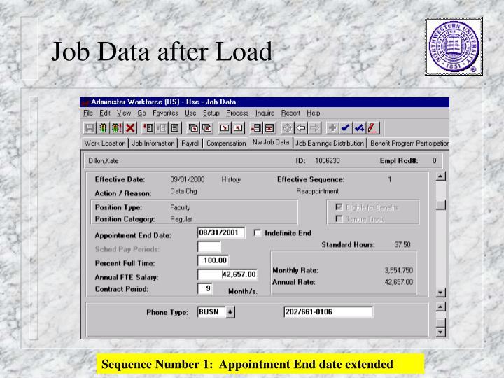Job Data after Load