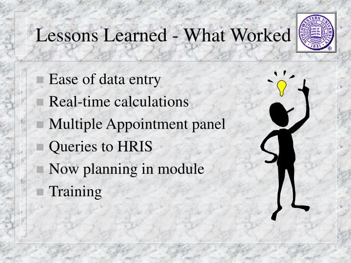 Lessons Learned - What Worked