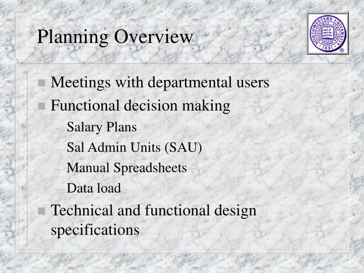 Planning Overview