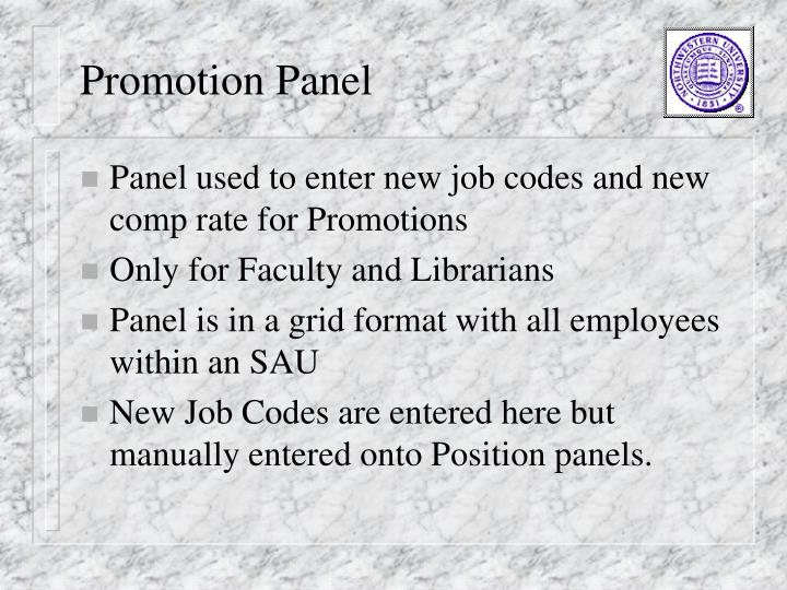 Promotion Panel