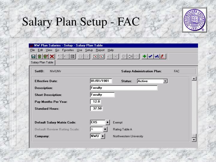 Salary Plan Setup - FAC