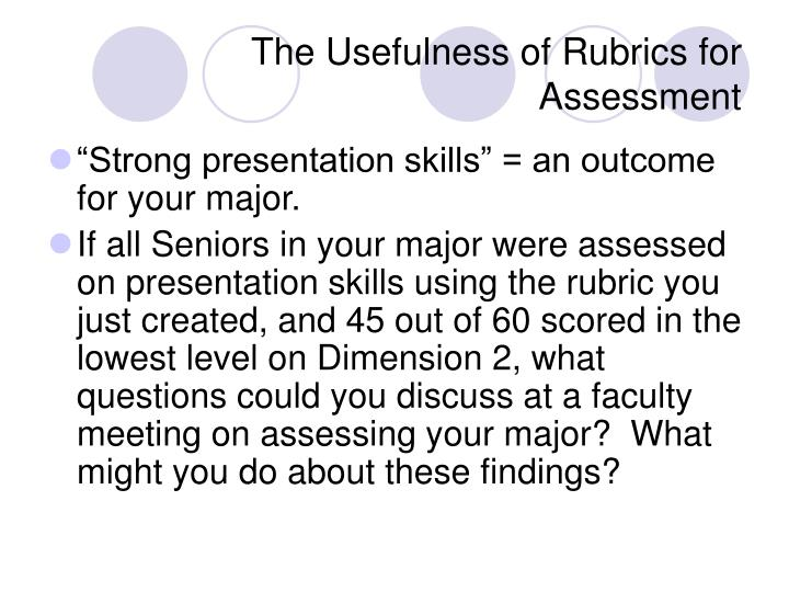 The Usefulness of Rubrics for Assessment