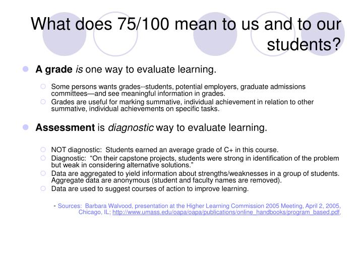 What does 75/100 mean to us and to our students?