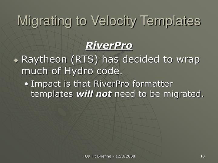 Migrating to Velocity Templates