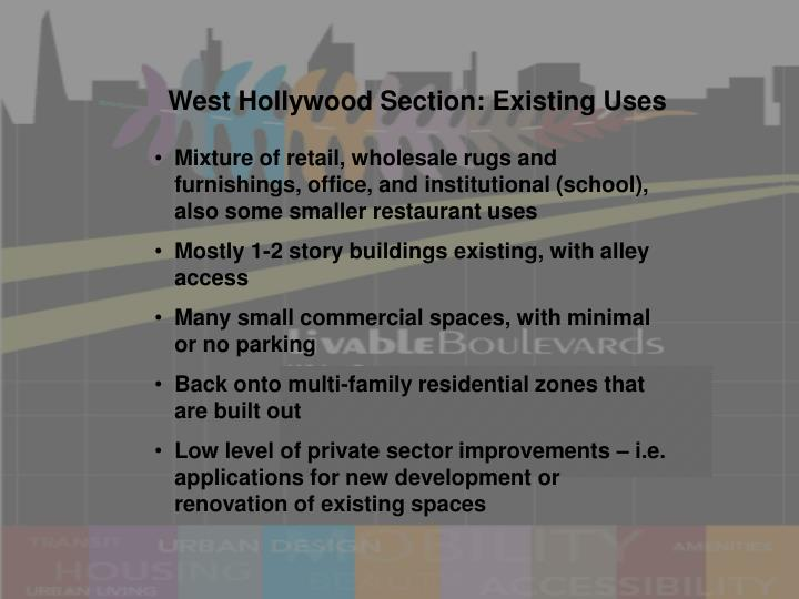 West Hollywood Section: Existing Uses