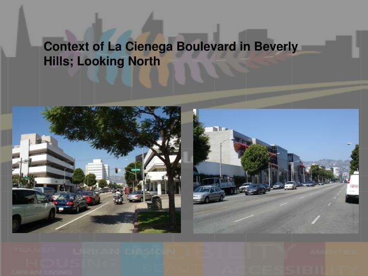 Context of La Cienega Boulevard in Beverly Hills; Looking North