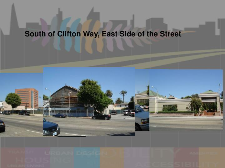 South of Clifton Way, East Side of the Street