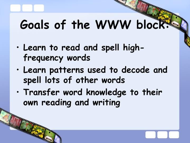 Goals of the www block