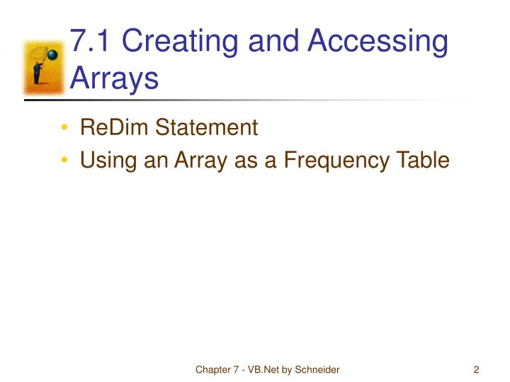 7 1 creating and accessing arrays