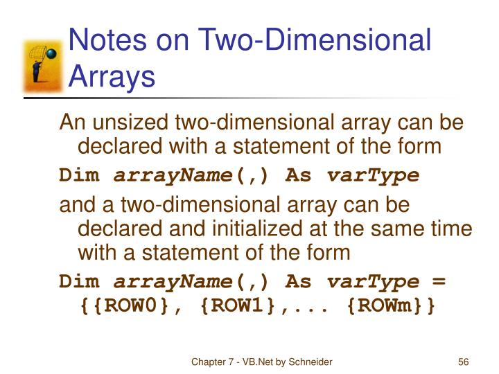 Notes on Two-Dimensional Arrays