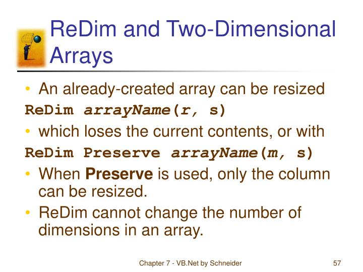 ReDim and Two-Dimensional Arrays