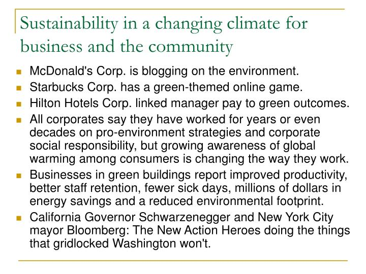 Sustainability in a changing climate for business and the community