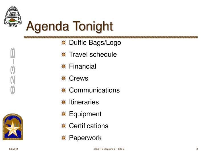 Agenda Tonight