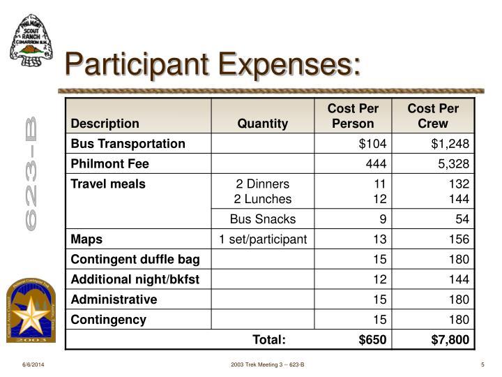 Participant Expenses: